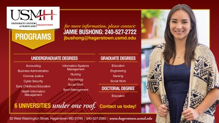 An ad design as part of the team at Icon Graphics for the University System of Maryland at Hagerstown.